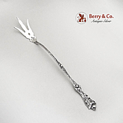 Poppy Lettuce Serving Fork Paye And Baker Sterling Silver 1908