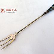Lettuce Fork Gilt Sterling Turquoise Enamel Lion Fleur-de-Lis Scroll 1890