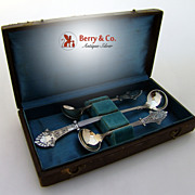 Louis XIV 2 Master Salt Spoon Mustard Ladle Boxed Sterling Silver Gorham 1870