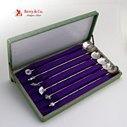 SALE PENDING Iced Teaspoons 6 Figural Japanese 950 Sterling Silver Boxed Set