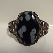 SALE Pre-WWII ingot silver snowflake obsidian Native American bracelet