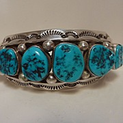 Heavy Navajo silver and turquoise cuff signed Ben Begay