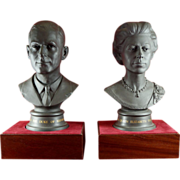 Pair of Black Basalt Busts by Royal Doulton to Mark Silver Jubilee Wedding of Duke & Queen