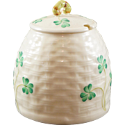 Belleek Basket Weave Shamrock Honey Pot