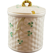 Belleek Basket Weave Shamrock Jam Pot