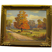 OIL on Board by Noted Canadian Art George H. Wolfe (1882-1965) Autumn in the Country