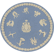 WEDGWOOD Pale Blue Jasperware Plate Made of 1976 MONTREAL Olympics