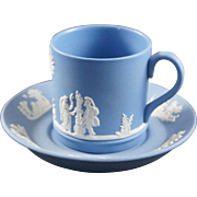 WEDGWOOD Pale Blue Jasperware Demitasse Cup and Saucer