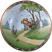 NIPPON Three Footed Bowl County Scene With House