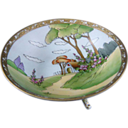 NIPPON Three Footed Bowl Country Scene With House
