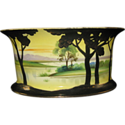 NIPPON Hand Painted JARDINIERE or Ferner with Rural Scene