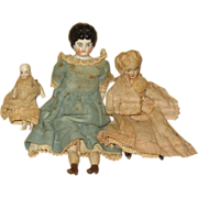 Group of Dolls 1 China head 1 Bisque Head  1 Bisque Body