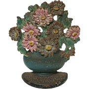 SALE Cast Iron Door Stop Flower Pot Basket