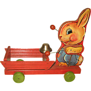 Fisher Price Wood Pull Toy no. 505 Bunny  Rabbit 1941 Easter