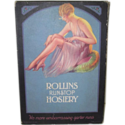 SALE Rollins Runstop Hosiery Box 1920's Pin-up Girl