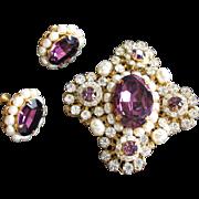 Regal MIRIAM HASKELL Brooch Earrings w/ Large Amethyst Glass Stones & Niki Pearls