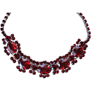 Brilliant Ruby Red Rhinestone D&E JULIANA Necklace - 5 Ring Construction