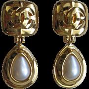Luxurious CHANEL Logo & Faux Pearl Dangle Clip Earrings