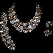 SALE Vendome Nail Head Crystal Necklace, Bracelet & Earrings