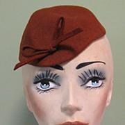 Vintage 30's 40's Hat, Felt Skull Cap