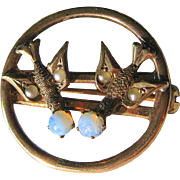 Dove Esprit Brooch, Antique Victorian 10k Gold, Pearl & Opal