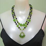 Vintage Bakelite Bead Necklace, Green Apple Juice