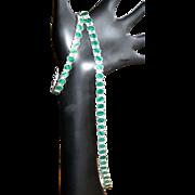SALE Sterling & Malachite Necklace & Bracelet, In Line Link