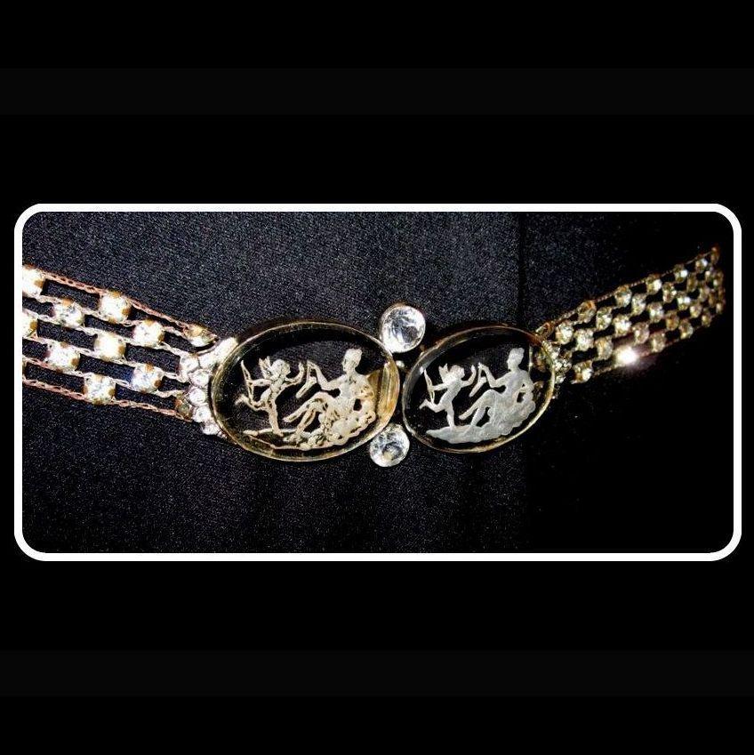 Czech Glass Belt, Crystal Intaglio Belt Buckle,  Vintage