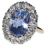 SOLD Sapphire & Diamond Halo Ring,  Platinum, 14K, Antique Engagement