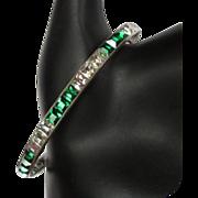 Art Deco Green Crystal Bracelet, Channel Set Square Paste, Sterling 20's