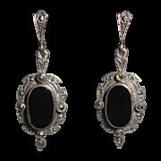 Sterling, Onyx & Marcasite Earrings, Art Deco