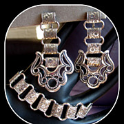 Book Chain Bracelet & Earrings, Victorian Revival, 60's
