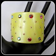 Wide Rhinestone Bracelet, 50's Plastic Clamper