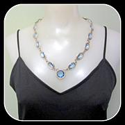 Blue Crystal Necklace / Huge Stones, Etched Bezel Frames