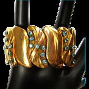 Victorian Revival Bracelet, Wide Repousse, Zircon Blue Stones