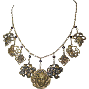Pididdly Links Necklace, Art Nouveau Face Charms