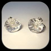 Deco Crystal & Sterling Earrings, Vintage Faceted