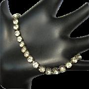 Vintage Sterling Rhinestone Tennis Bracelet, Art Deco