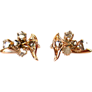 Victorian Diamond Earrings, 14K Gold & Rose Cuts