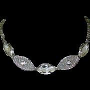 Art Deco Necklace, Crystal, Paste Stones & Filigree