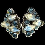 50's Blue Rhinestone Earrings, Givre Art Glass