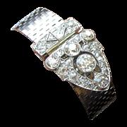 Platinum Diamond Bracelet, 5cts, Art Deco Dress Clip