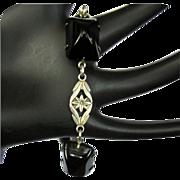 Sterling & Onyx Bracelet, Art Nouveau Floral