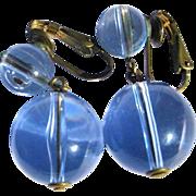 Orb Earrings Pale Blue Clear Drops, Vintage Victorian Revival