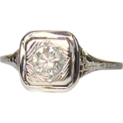 18K WG Filigree Ring, Diamond, Engagement .3 ct