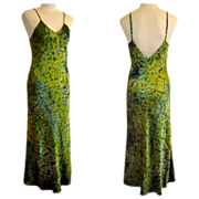 Silk Dress, Bias Cut Siren Song Gown in Poison Green, Salt Dyed