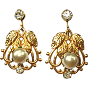 Glass Pearl Drop Earrings, Rhinestone, GF, Art Nouveau
