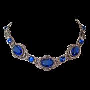 Art Nouveau Necklace, Czech Glass & Filigree