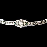 Art Deco Filigree Bracelet, 10K White Gold & Diamond, Belais Bros.