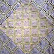 Antique Quilt, Cathedral Window, Hand Made, Early 1900's